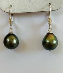 Beautiful Natural Tahitian Pearl Earrings14kt Solid Gold