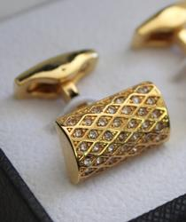 Golden color Jeweled Style Cufflinks By Carelli