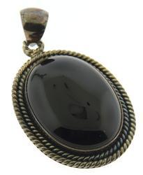 Large Sterling Silver Black Onyx Pendant