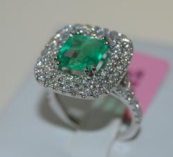 Beautiful Emerald and Diamond Halo Cocktail Ring