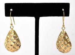 Flashy 14KT Yellow Gold Textured Pear-Shaped Earrings