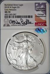 Castle Signed MS70 2018-W Silver Eagle, NGC