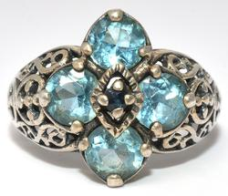 Glittering Blue Topaz & Sapphire Ring, Sterling Silver