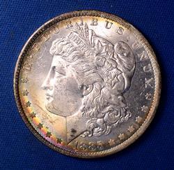 Colorful Toned 1885-O Morgan Dollar, Frosty BU