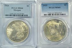 Near Gem BU 1921 Morgan & 1923 Peace Dollars. PCGS MS64