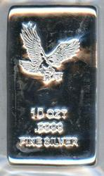 Poured 10 Troy OZ pure .9999 fine silver bar in plastic