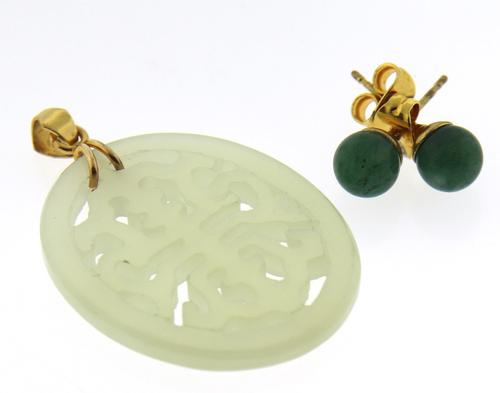 Jade Earrings with Jade Pendant