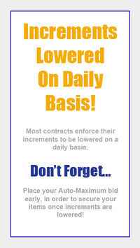 Increments Are Lowered Daily!