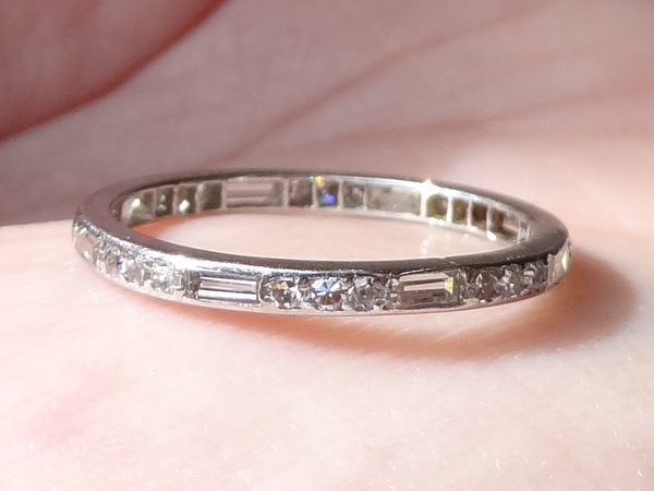 bands co carats p band estate ct the channel cut ring baguette eternity weighing a and platinum in diamond set tiffany total approximately mounting tw diamonds