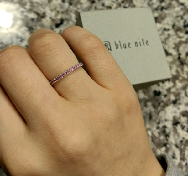 Blue Nile Riviera Pave Pink Sapphire Eternity Ring Loupe Troop