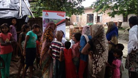कानपुर के बाढ़प्रभावित क्षेत्रोंमें स्वास्थ्य शिविर का आयोजन।