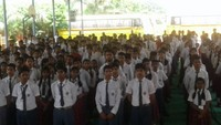 बलिया के सनबीम स्कूल में आयोजित पुलिस की पाठशाला में मौजूद विद्यार्थी।