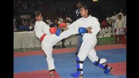 बीएचयू,वाराणसी में आयोजित चतुर्थ ऑल इंडिया ओपन कराटे चैंपियनशिप में प्रतिभाग करते खिलाड़ी
