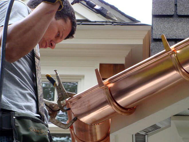 cost to install copper gutter estimates prices contractors homesace. Black Bedroom Furniture Sets. Home Design Ideas