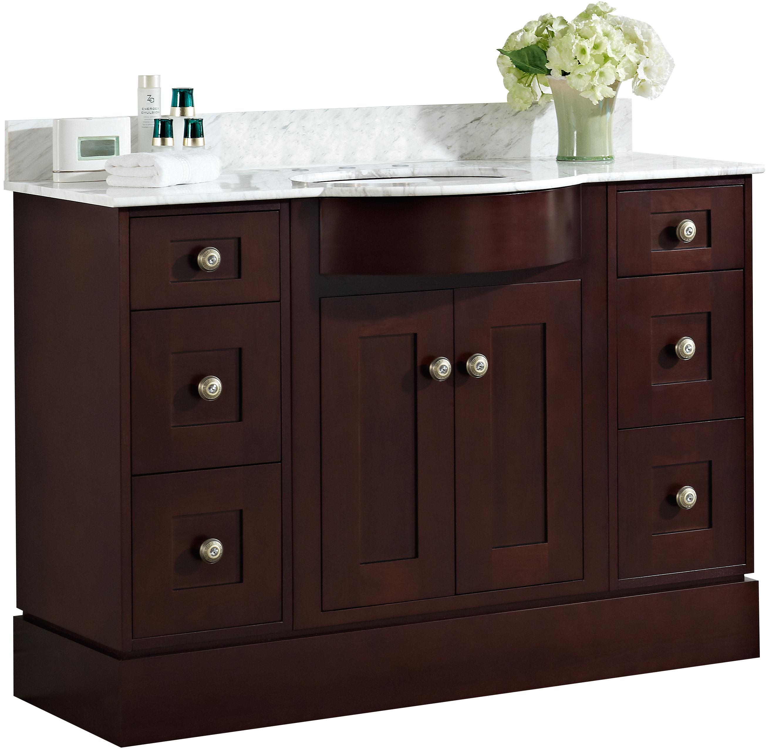 48-in. W Floor Mount Coffee Vanity Set For 3H8-in. Drilling Bianca Carara  Top Biscuit UM Sink #IMG-1082
