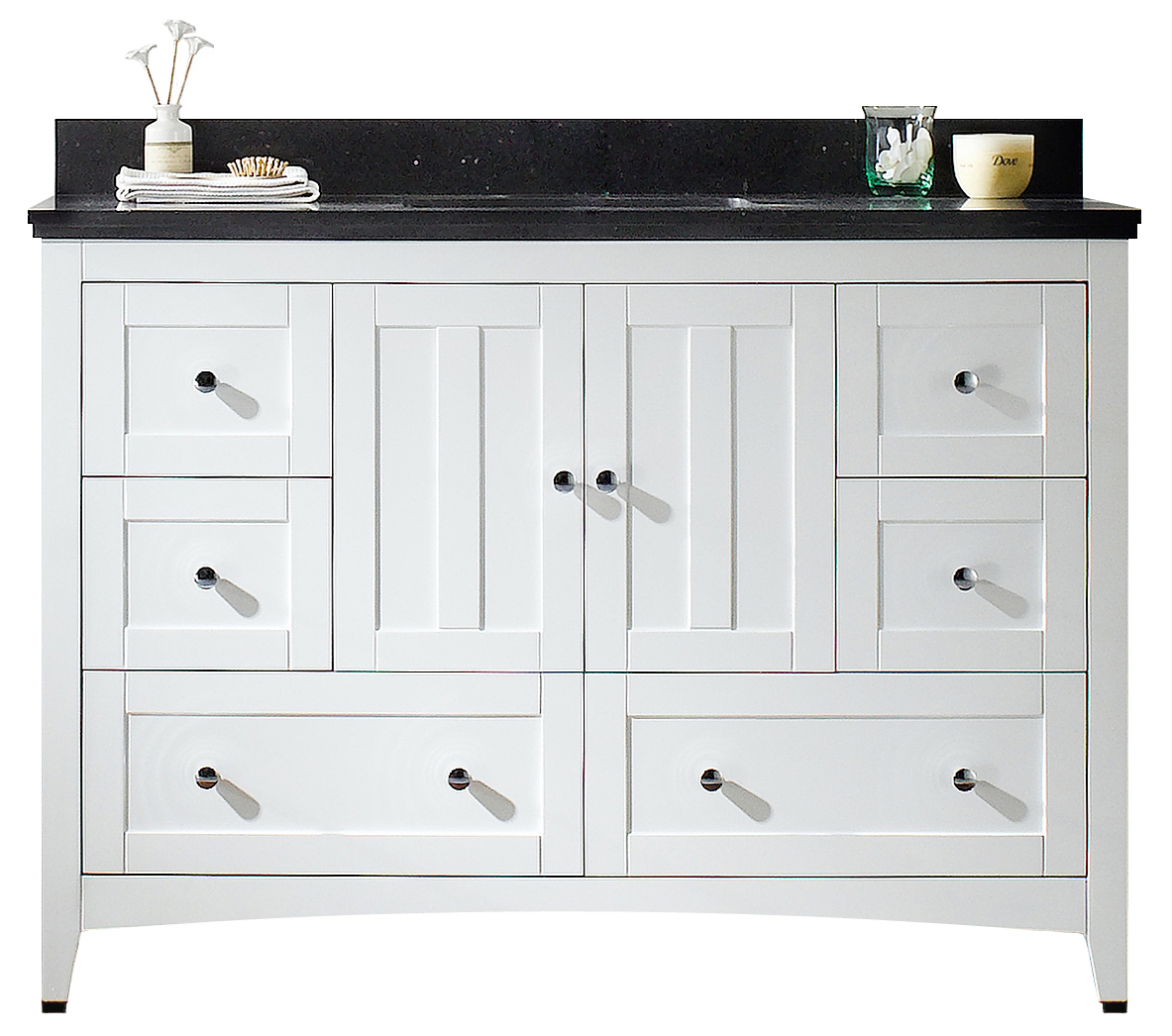 47.6-in. W Floor Mount White Vanity Set For 1 Hole Drilling Black Galaxy  Top White UM Sink #IMG-17663