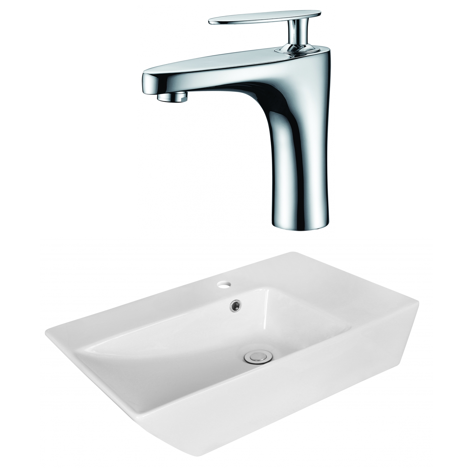Above counter bathroom sinks canada - W Above Counter White Vessel Set For 1 Hole Center Faucet Faucet Included Ai 18070