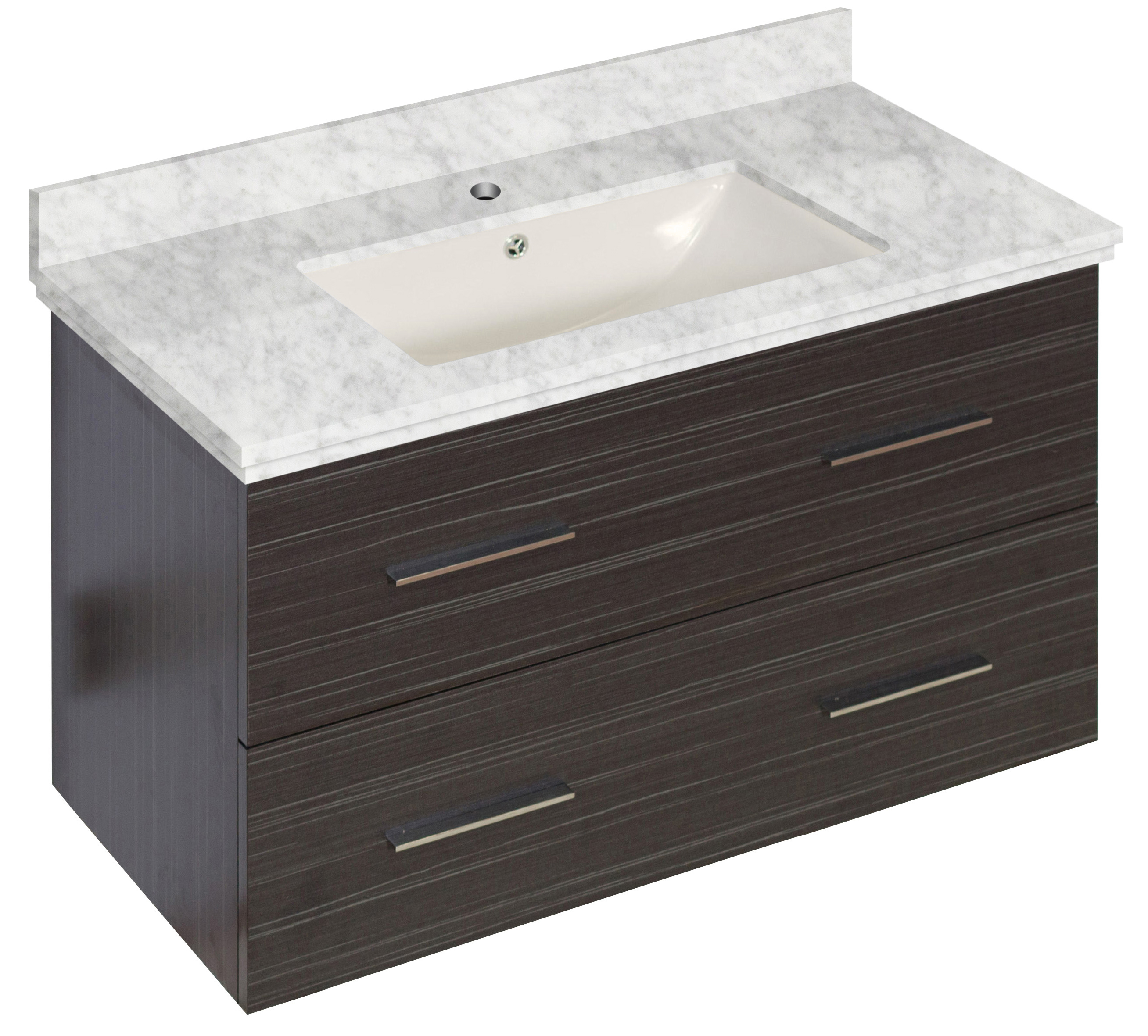 W Wall Mount Dawn Grey Vanity Set For 1 Hole Drilling Bianca Carara Top  Biscuit Um Sink #ai18632