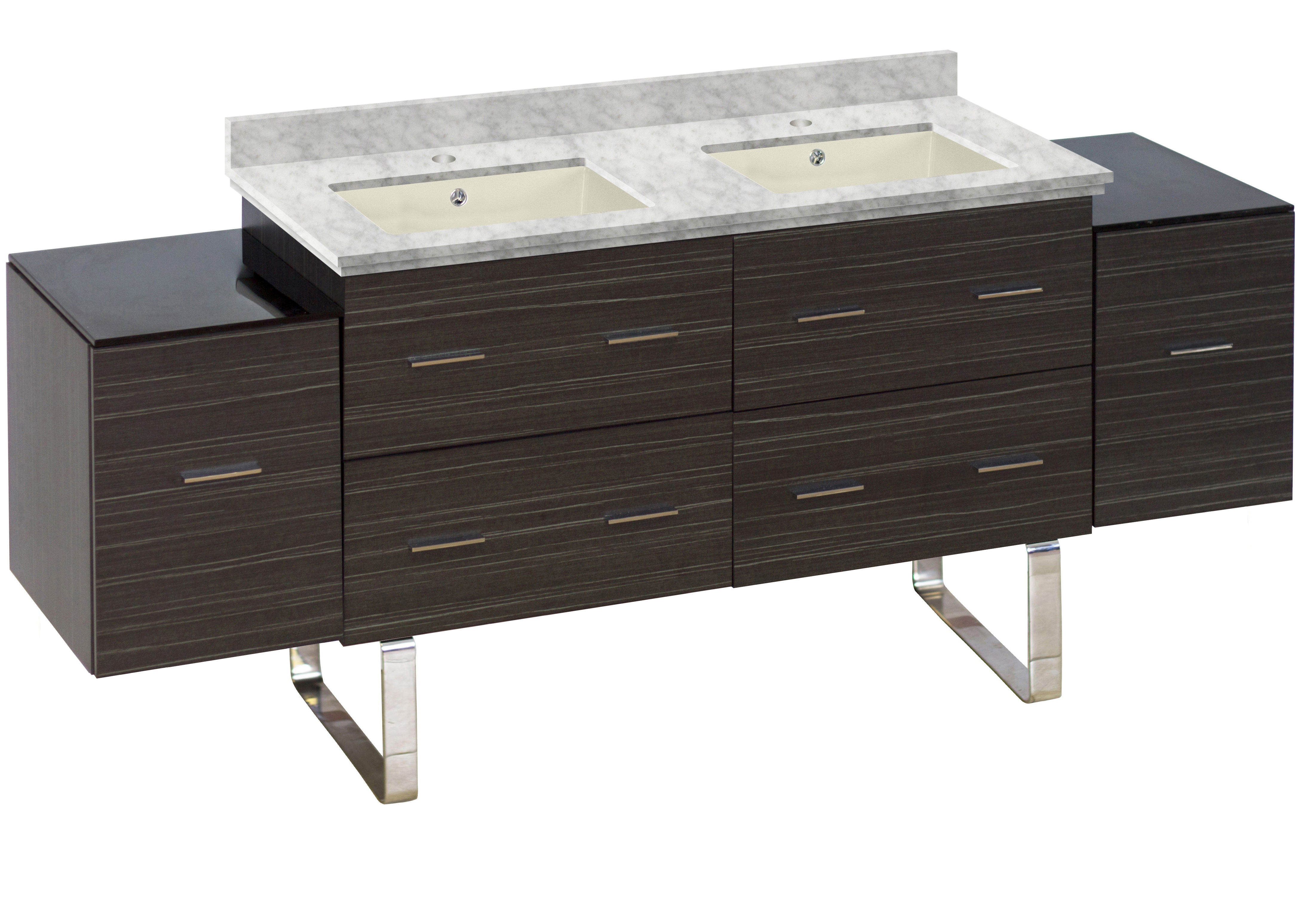 W Floor Mount Dawn Grey Vanity Set For 1 Hole Drilling Bianca Carara Top  Biscuit UM Sink #PH 19033