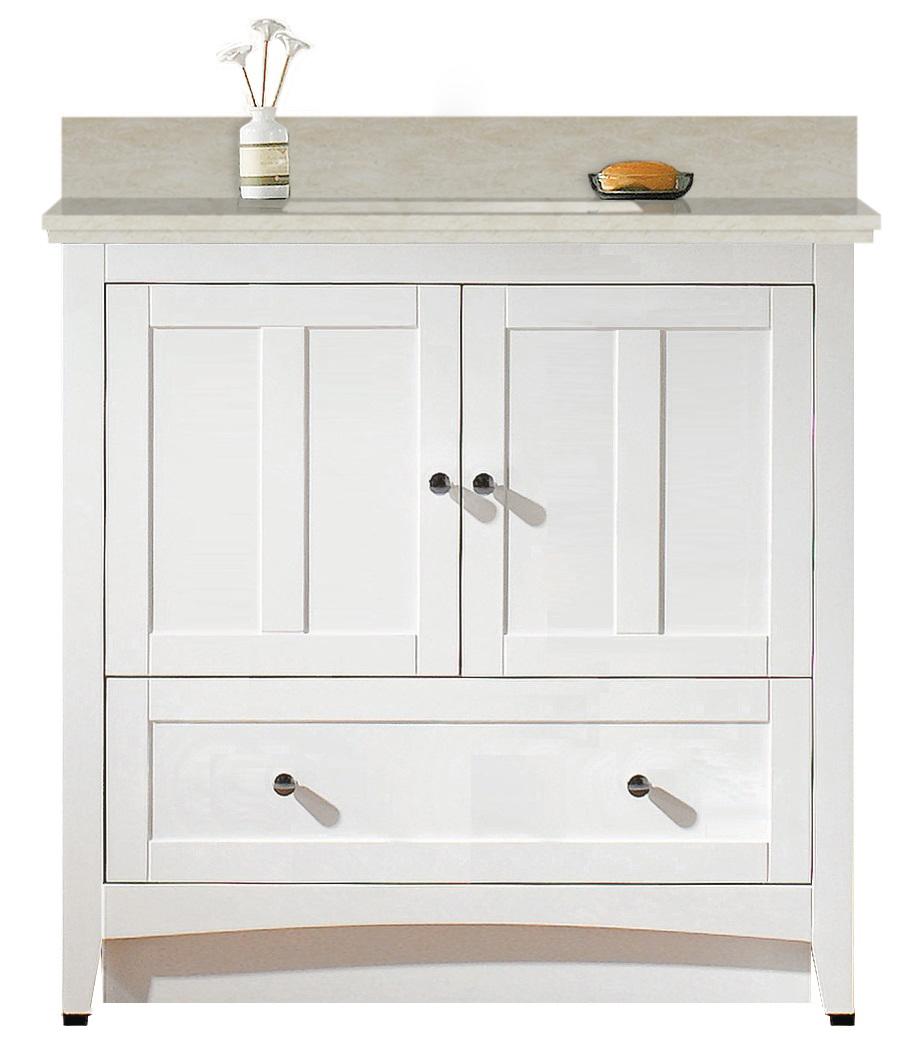 36-in. W Floor Mount White Vanity Set For 1 Hole Drilling Beige Top White  UM Sink #IMG-19421