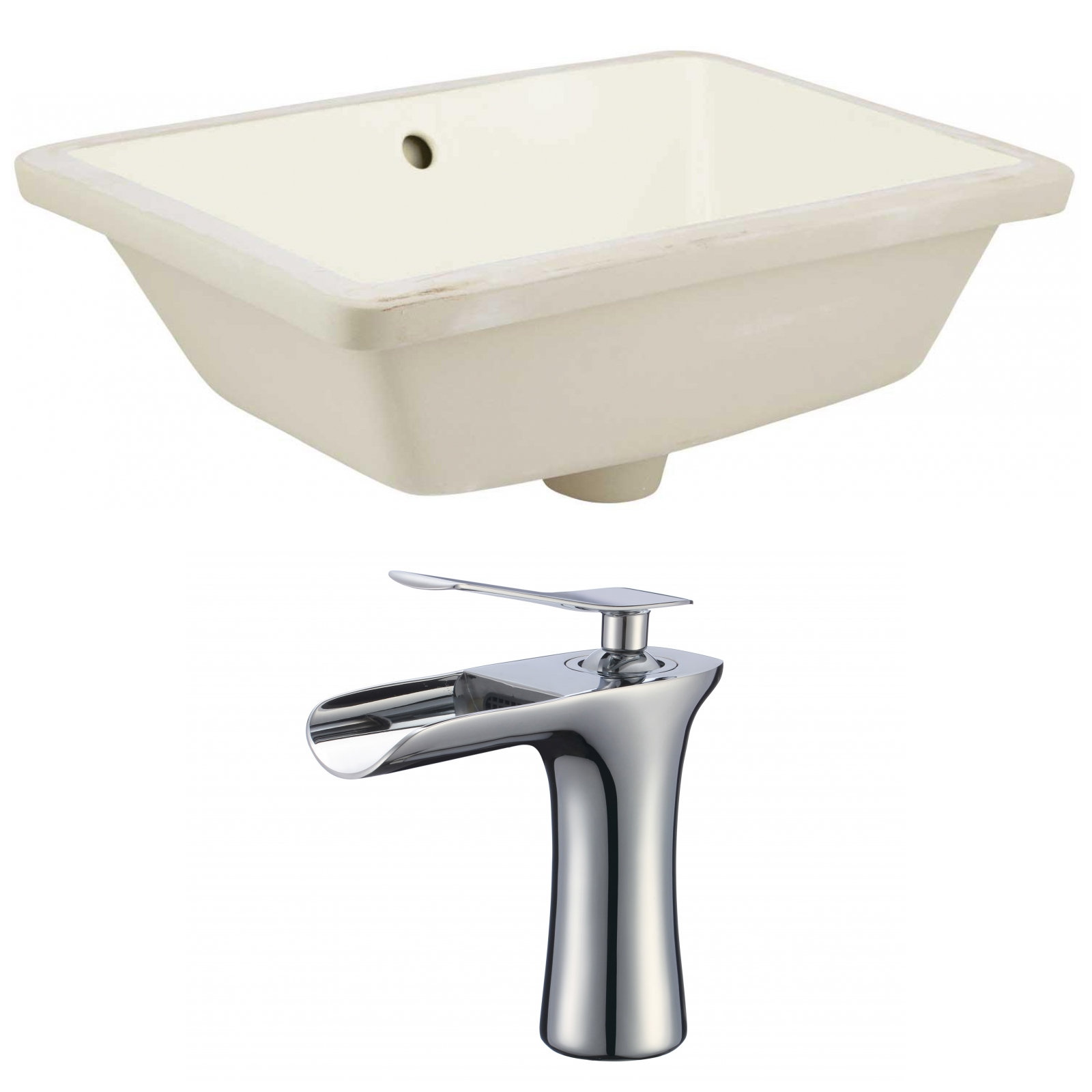 18.25-in. W Rectangle Undermount Sink Set In Biscuit - Chrome ...
