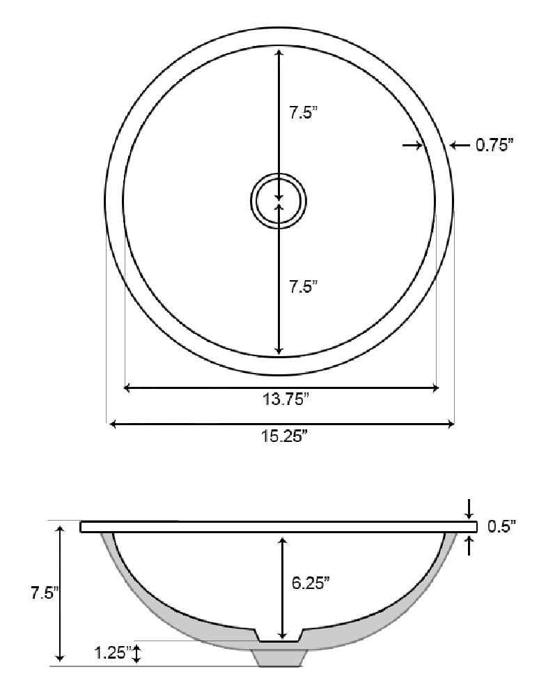 15 round sink 1525 in w cupc round undermount sink set in white chrome