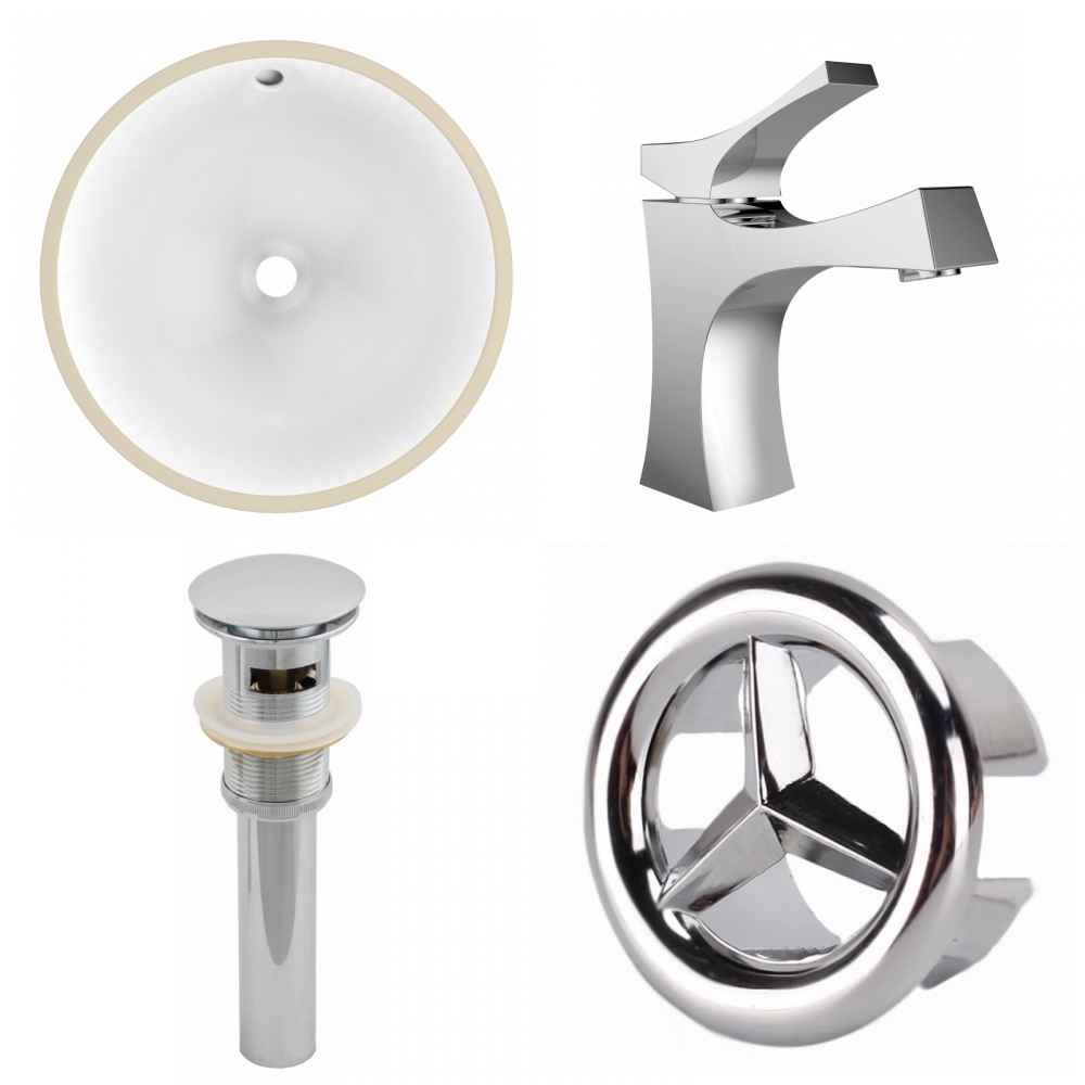 W CUPC Round Undermount Sink Set In White   Chrome Hardware With 1 Hole  CUPC Faucet   Overflow Drain Incl. #PH 25914