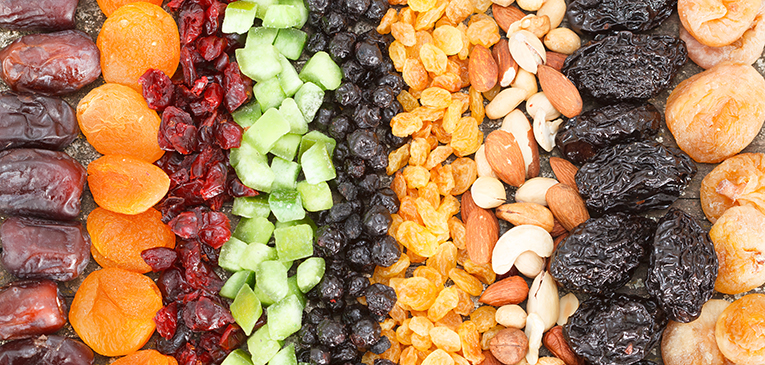 Frutas secas, alternativas ao gel de carboidrato