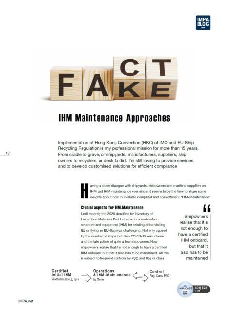 IHM Maintenance Approaches
