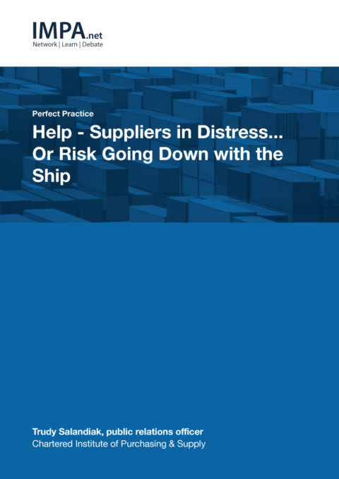Help - Suppliers in Distress…Or Risk Going Down with the Ship?