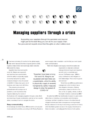 Managing suppliers through a crisis