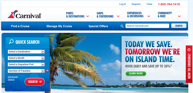 Carnival Cruise Lines Home Page