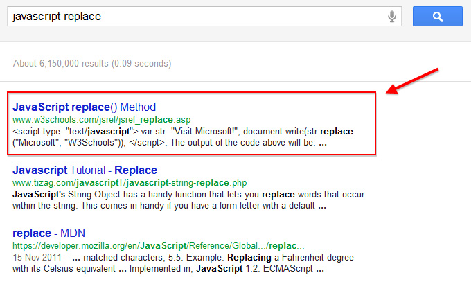 Search result for javascript replace