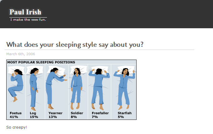 Paul Irish: What does your sleeping style say about you?