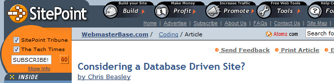 SitePoint: Considering a Database Driven Site?