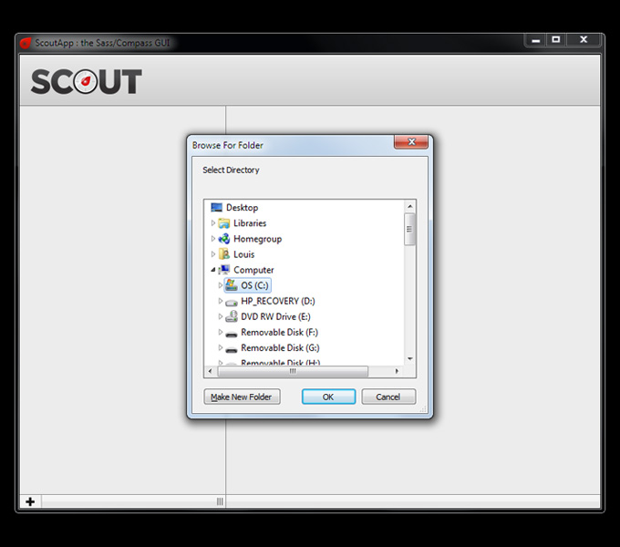 Adding a folder in Scout
