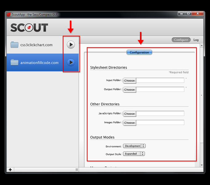 Options for Managing Projects in Scout