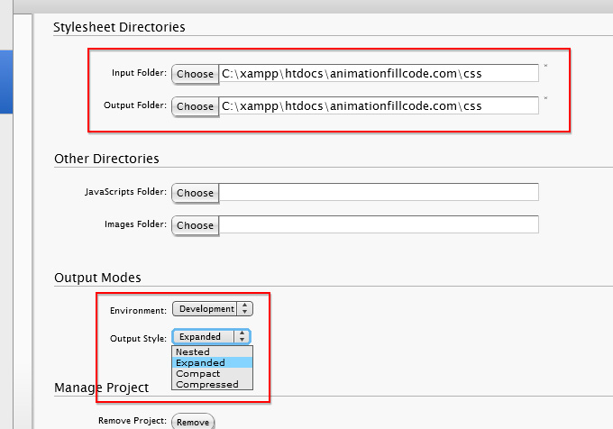 Scout's project configuration settings