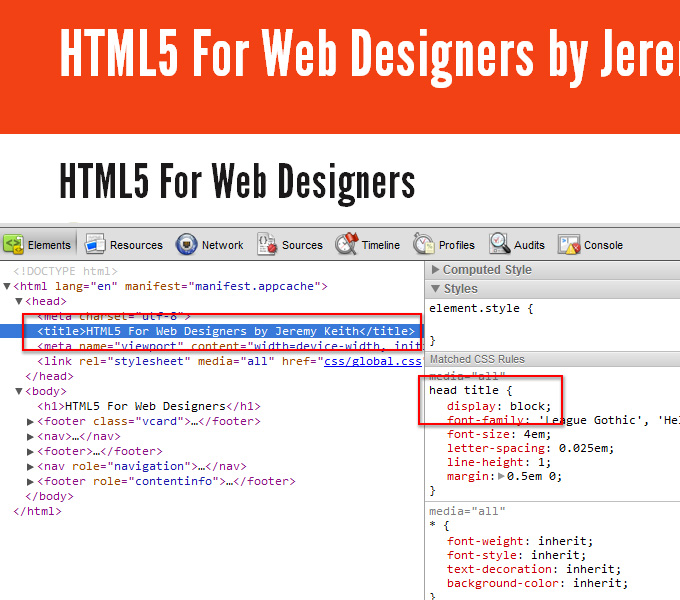Blocked title element on HTML5 for Web Designers