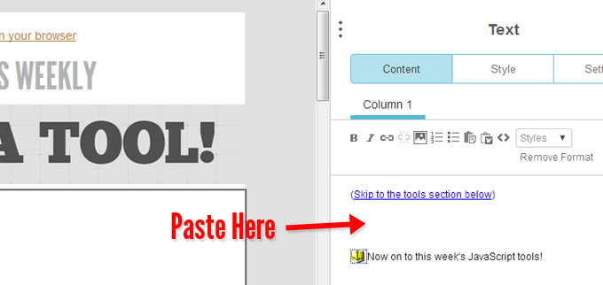 Paste code into MailChimp editor