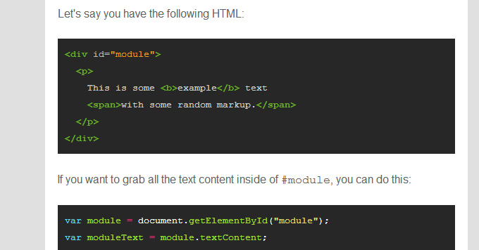 Example of syntax highlighting in Web Tools Weekly