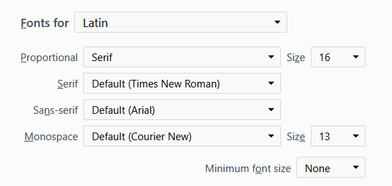 Choosing default generic fonts in Firefox
