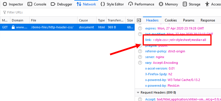 Viewing a Link HTTP Header in Firefox