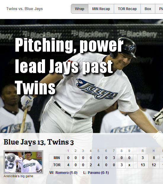 MLB's game wrap-up page in Chrome 10
