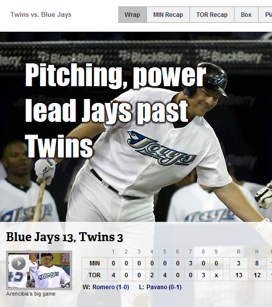 MLB's game wrap-up page in IE6
