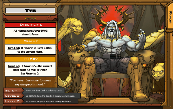 Tyr Boss Card for Raid Boss Cooperative Tabletop RPG