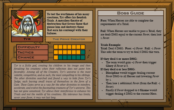 Tyr Boss Card Back for Raid Boss Cooperative Tabletop RPG