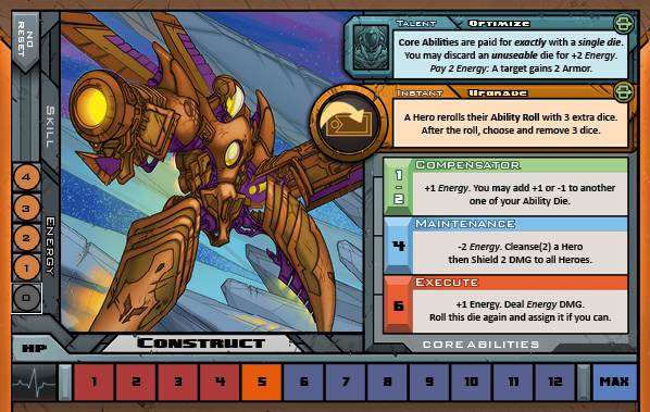 Construct Card for Raid Boss Cooperative Tabletop RPG