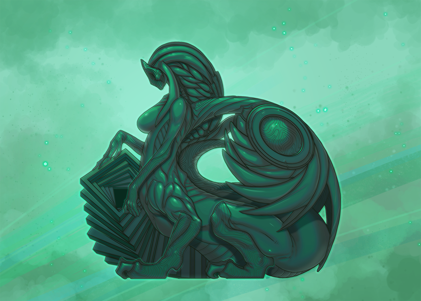 Jade Sphinx Art for Raid Boss Cooperative Tabletop RPG