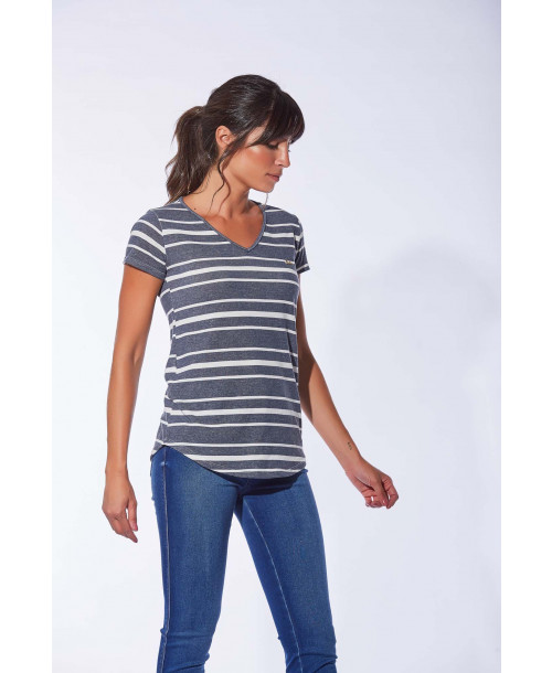 BLUSA INDEX T-SHIRT FEM DECOTE V LISTRADA